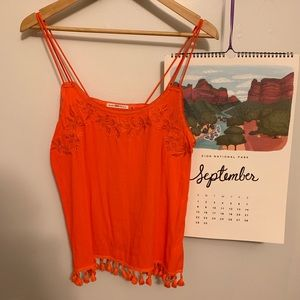 Mustard Seed Embroidered Orange Top